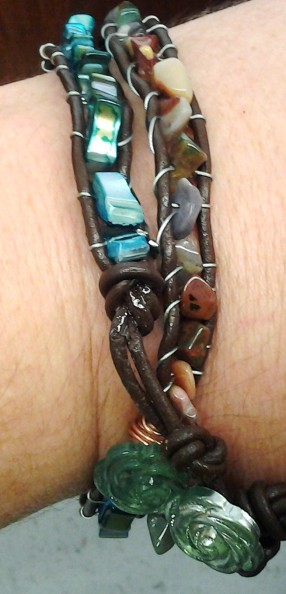 Wrap Bracelet in leather and wire